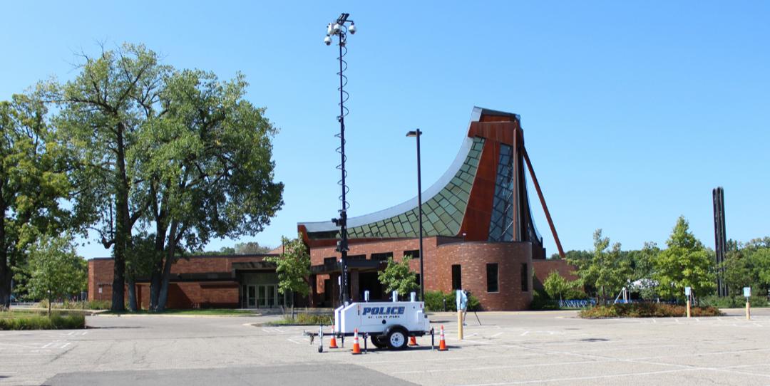 Camera rig set up outside synagogue