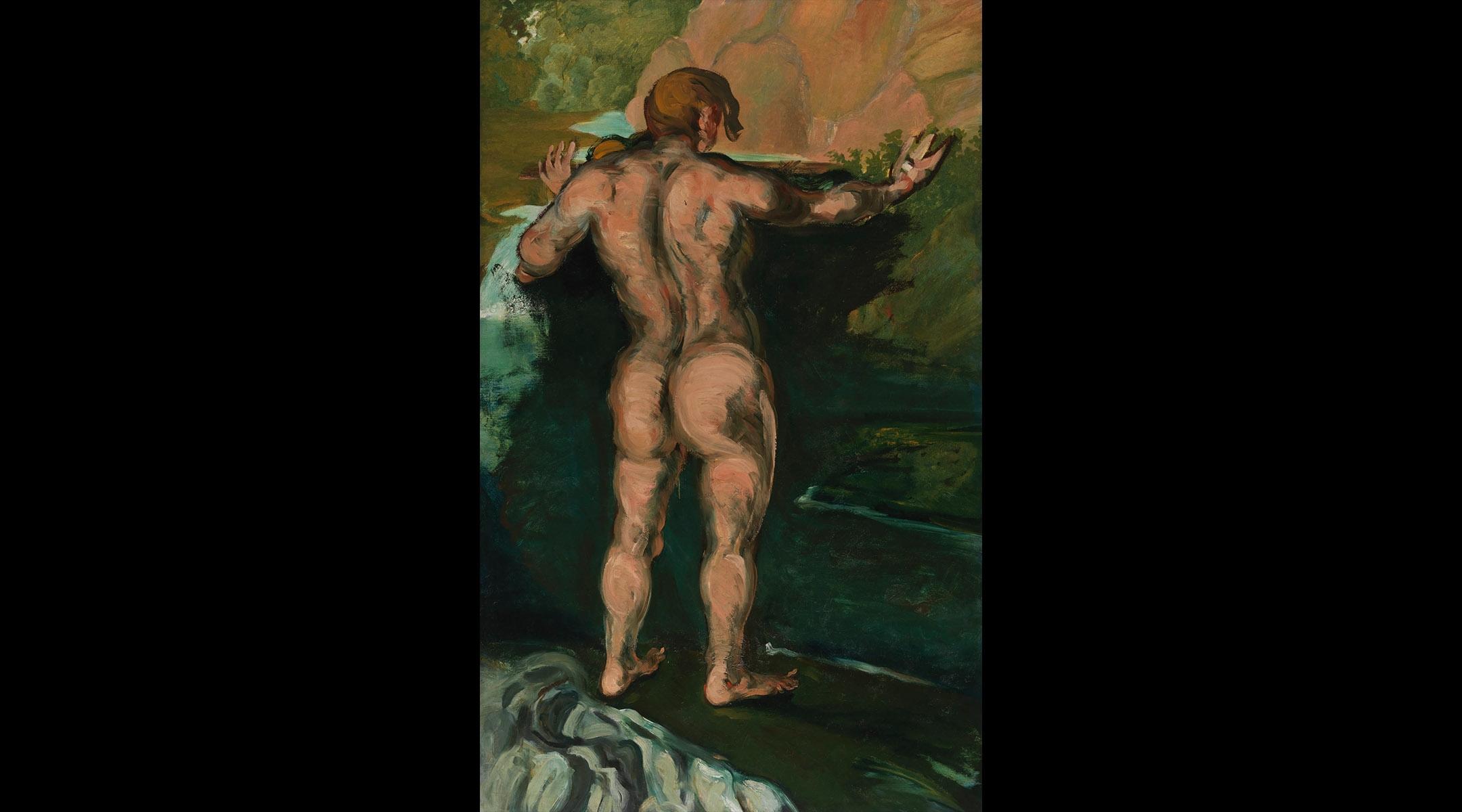 "Paul Cezanne, ""Bather and Rocks"""