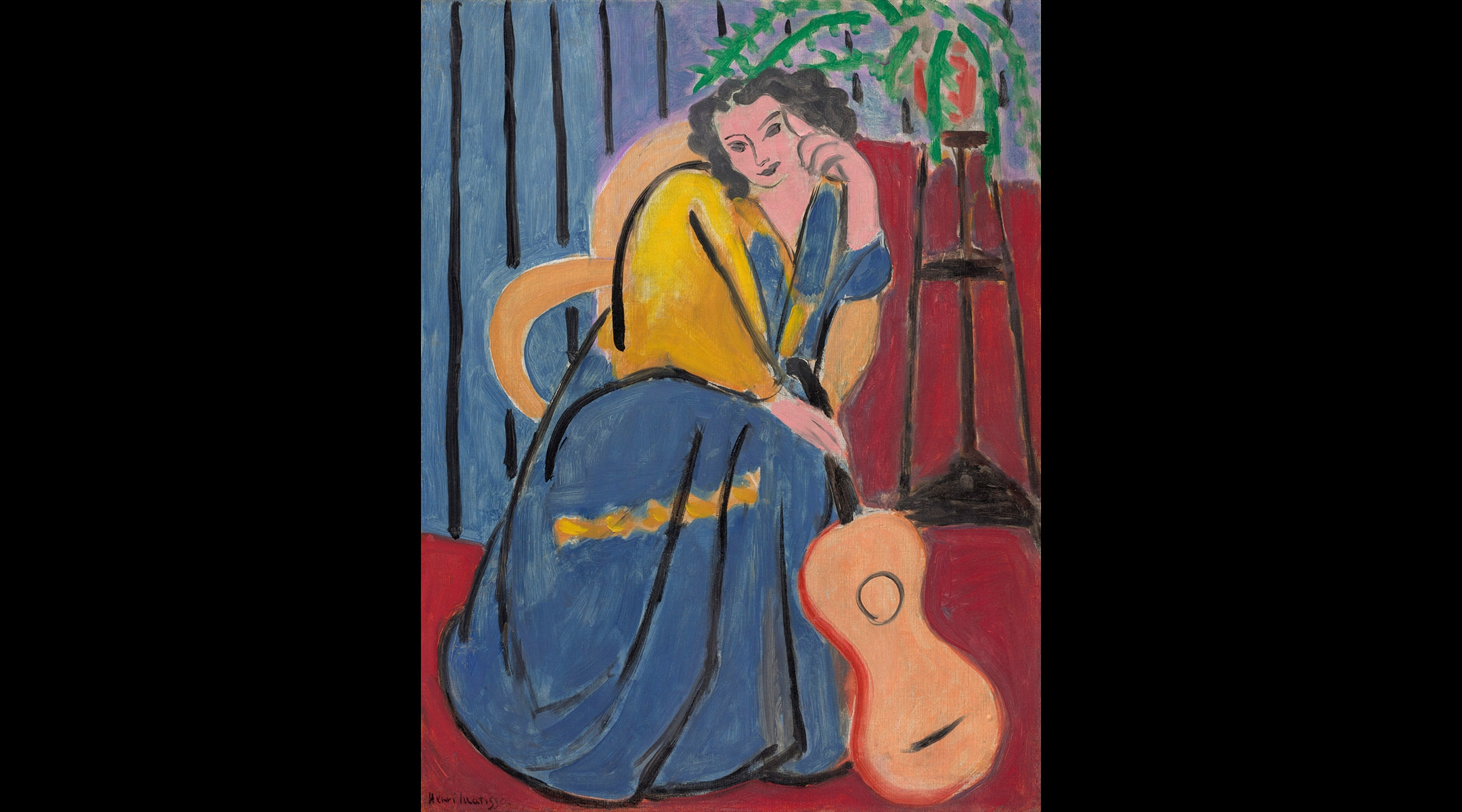 """Henri Matisse, """"Girl in Yellow and Blue with Guitar"""""""
