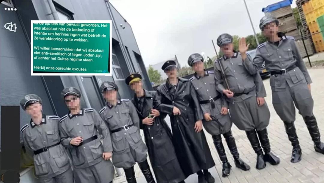 Men wear Nazi uniform during a COVID-19 protest in Urk, the Netherlands on Sept. 10, 2021. Hart van Nederland