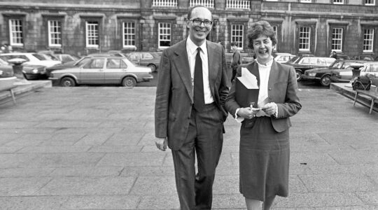 Late minister Mervyn Taylor and lawmaker Nuala Fennell stand in front of praliament in Dublin, Ireland on Nov. 4, 1982. (Independent News And Media/Getty Images)