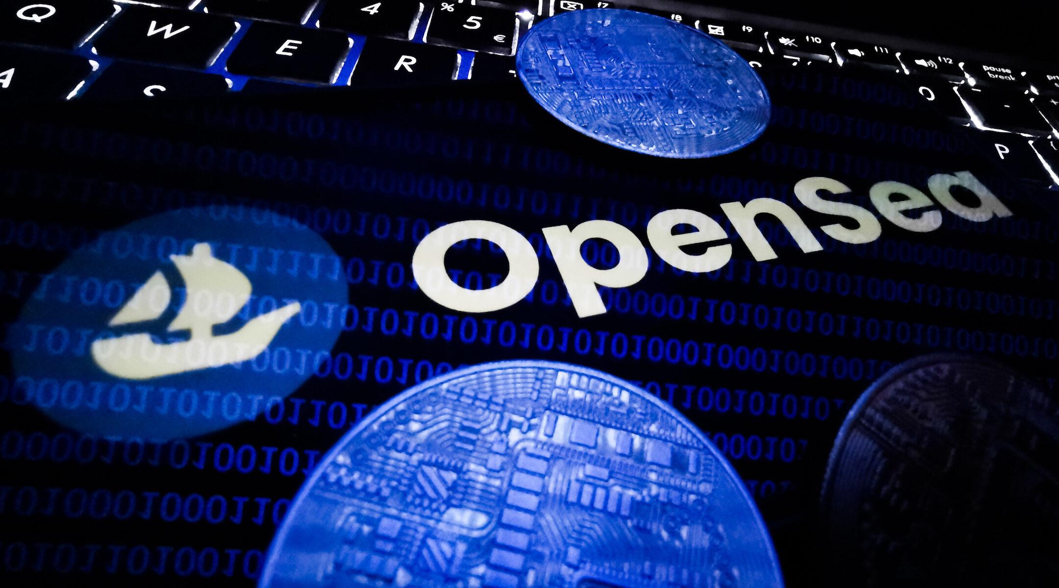 Photo illustration of OpenSea's logo