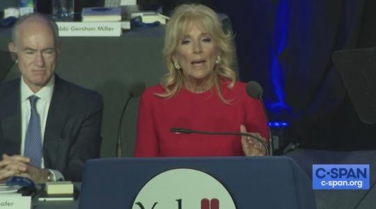 Jill Biden speaks at the Yeshiva Beth Yehudah fundraiser dinner in Detroit