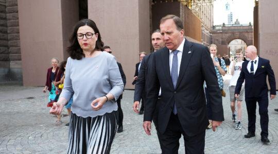 Sweden's Prime Minister Stefan Lofven and the Minister of Education Anna Ekström leave the Swedish Parliament in Stockholm on June 21, 2021. (Nils Petter Nilsson/TT News Agency/AFP via Getty Images)